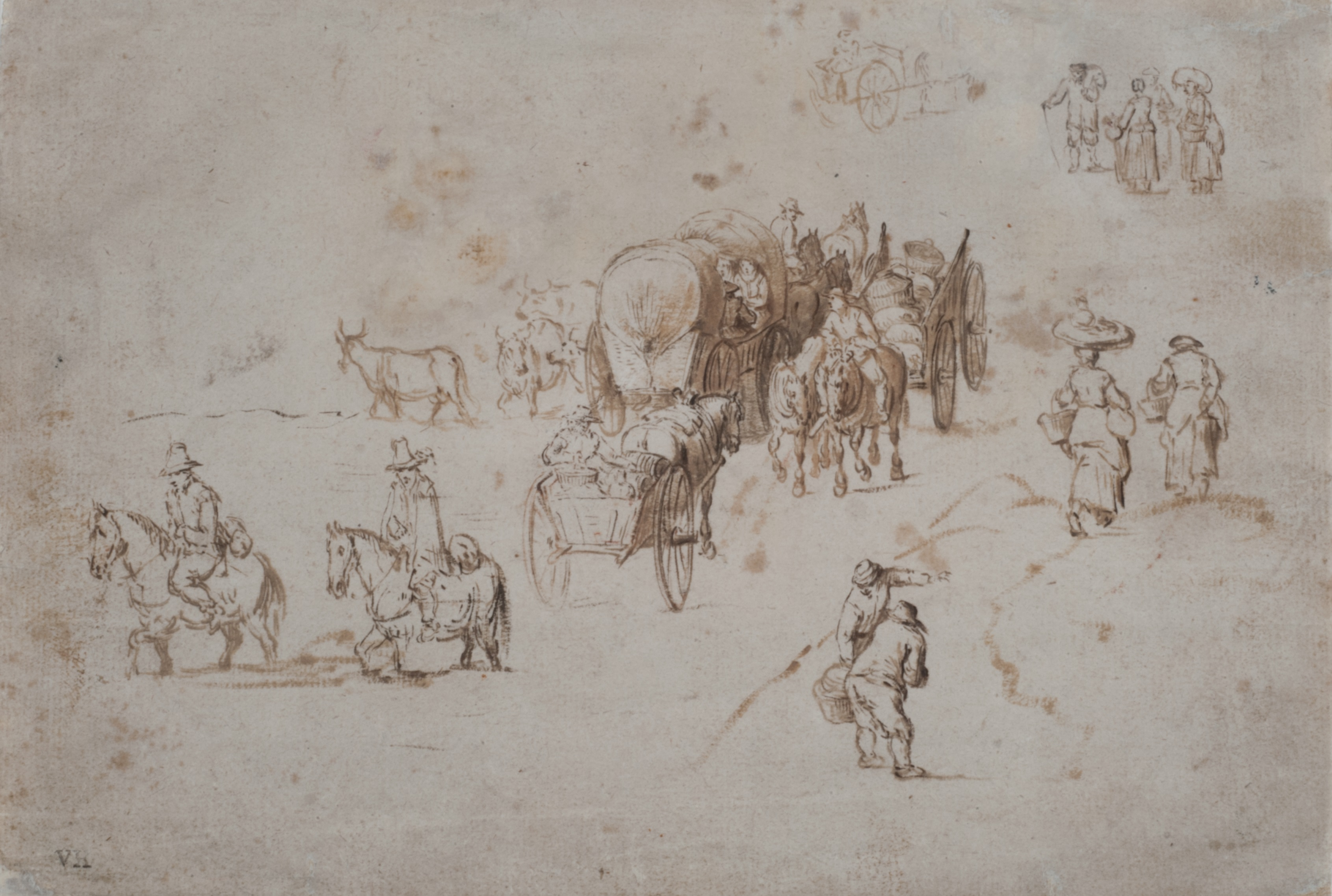 Jan Brueghel The Elder - Sketch for a Landscape with Viandants (recto)