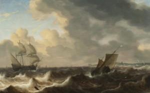 Jacob Adrianesz Bellevois,Mare agitato con barconi in navigazione,olio su tavola cm56x90,5.Opera firmata per esteso e databile 1650-55ca.