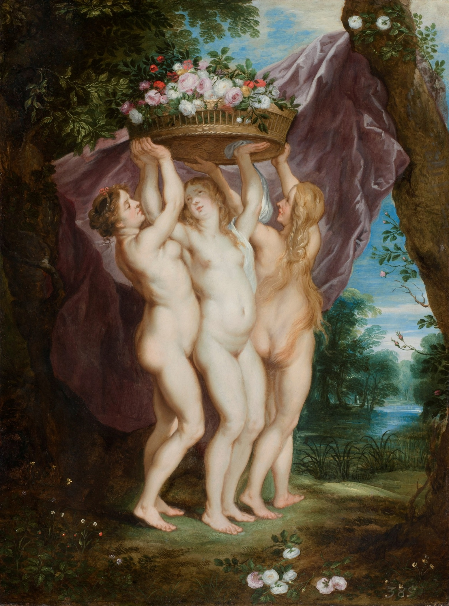 Jan Brueghel and Frans Wouters - The Three Graces with a Basket of Flowers